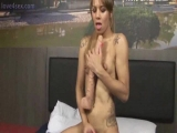 Blonde tranny rubbing her dick