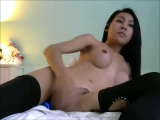 Asian ladyboy vibrates her butt