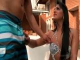 Kinky brunette tranny swallowing huge pecker outdoor