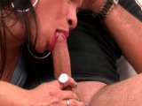 Nasty tranny fucking horny shaft in his mouth and tight ass