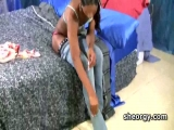Ebony ladyboy Adriana masturbating in bed