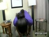 Ebony tranny Diamond fellating huge cock
